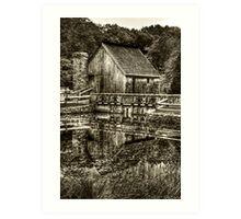 Cabin by the lake - Black & White Art Print