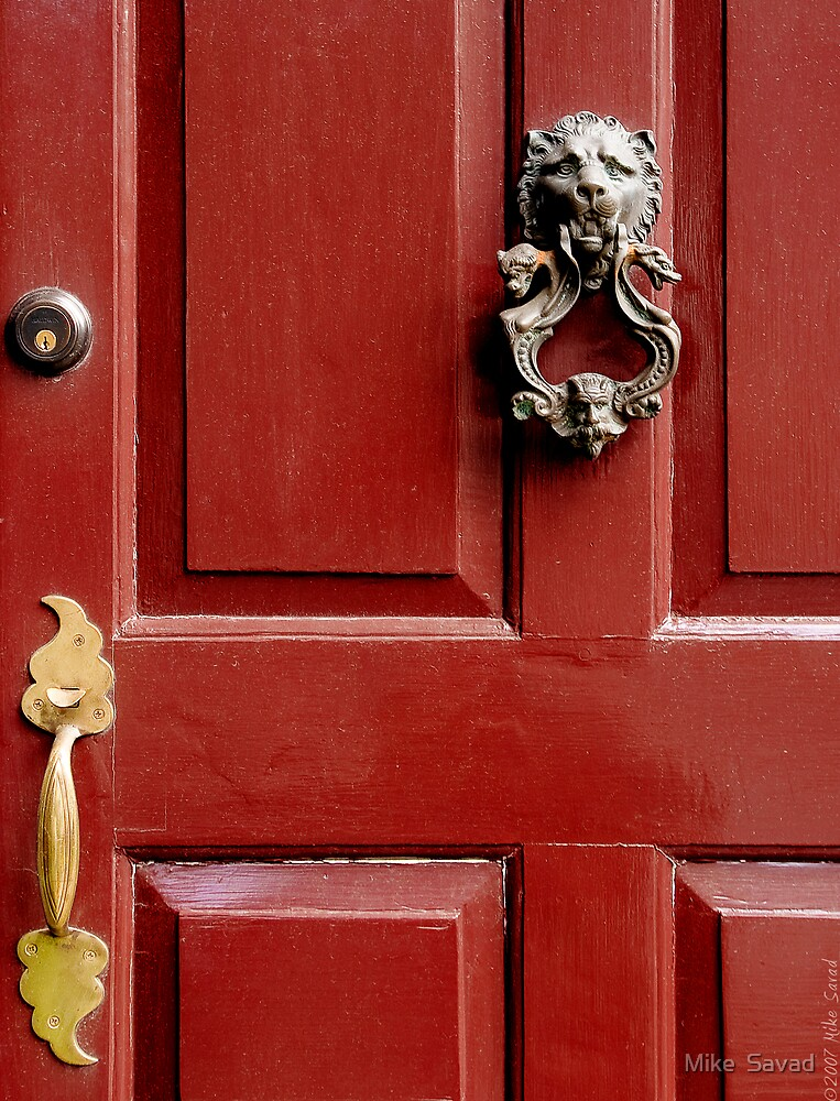Red door with Lion Knocker by Mike  Savad