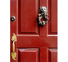Red door with Lion Knocker Photographic Print
