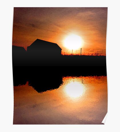 Sunset Barns Poster