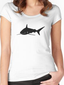 Silky Shark Silhouette (Black) Women's Fitted Scoop T-Shirt