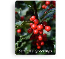 Holly Seasons Greetings Canvas Print