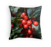 Holly Seasons Greetings Throw Pillow