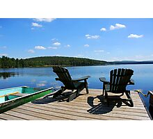 Chairs on dock Photographic Print