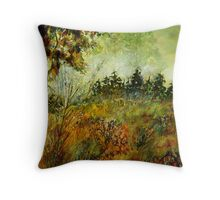 mist on the road to wiesme  Throw Pillow