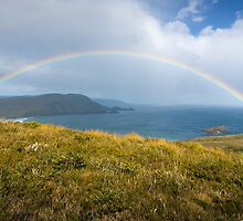 Rainbow over Lighthouse Bay, Bruny Island by NickMonk