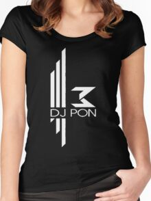 DJ Pon-3: White Logo Women's Fitted Scoop T-Shirt