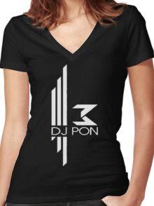 DJ Pon-3: White Logo Women's Fitted V-Neck T-Shirt
