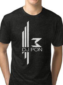 DJ Pon-3: White Logo Tri-blend T-Shirt