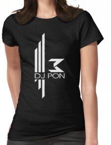 DJ Pon-3: White Logo Womens Fitted T-Shirt