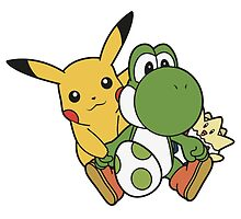 Yoshi, Pikachu and Togepi by elenwae