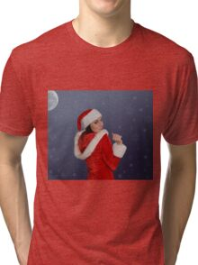 Beautiful young female  with Christmas gift Tri-blend T-Shirt