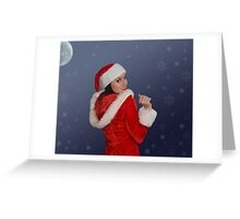 Beautiful young female  with Christmas gift Greeting Card