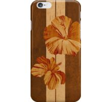 Kualoa Faux Koa Wood Hawaiian Surfboard with Hibiscus iPhone Case/Skin