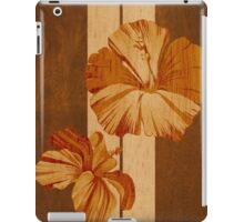 Kualoa Faux Koa Wood Hawaiian Surfboard with Hibiscus iPad Case/Skin