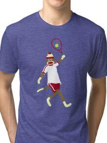Sock Monkey Playing Tennis Tri-blend T-Shirt