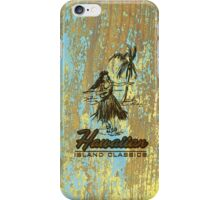 Surf Shack Hawaiian Weathered Faux Wood Design - Aqua and Yellow iPhone Case/Skin