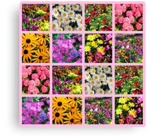 COLORFUL WILD FLOWER PHOTO COLLAGE Canvas Print