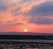 Sunset over Hayling Island by Sharon Perrett