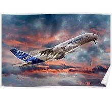 Airbus A380 - Sunset Poster