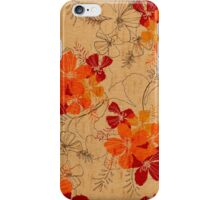 Midnight Garden Hawaiian Faux Wood Surfboard - Orange iPhone Case/Skin