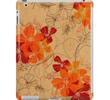 Midnight Garden Hawaiian Faux Wood Surfboard - Orange iPad Case/Skin