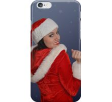 Beautiful young female  with Christmas gift iPhone Case/Skin