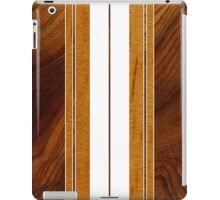Nalu Mua Hawaiian Faux Koa Wood Surfboard - White iPad Case/Skin