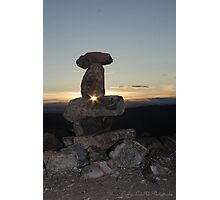 Midnight-Sun Through Inukshuk Photographic Print