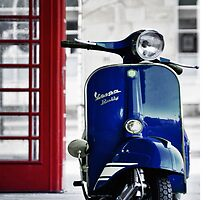 Italian Blue Vespa Rally 200 Scooter by AJ Airey