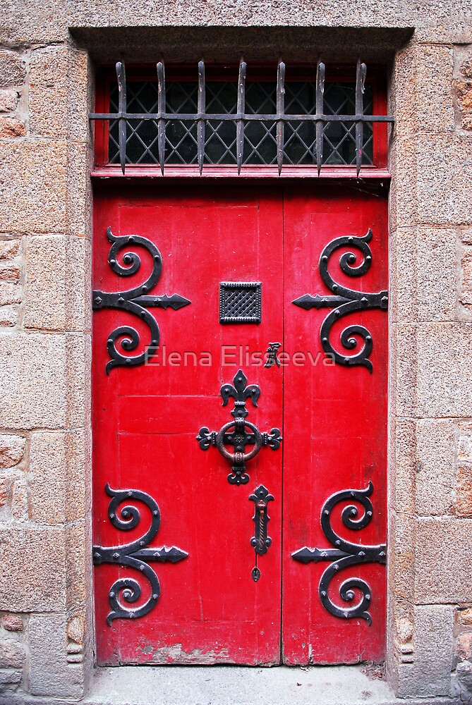 Red medieval door by Elena Elisseeva
