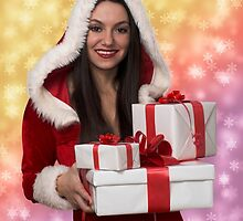 Christmas girl with gift by Viktorcvetkovic