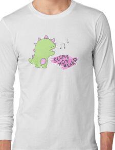 pink dino singing Long Sleeve T-Shirt