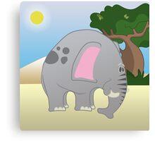 Safari with elephant / Cute elephant clip art Canvas Print