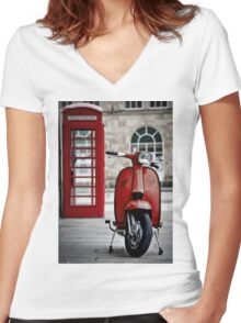 Italian Red Lambretta GP Scooter Women's Fitted V-Neck T-Shirt