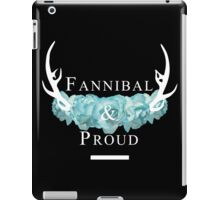 'Fannibal & Proud' w/ Flower (Black Background/White Font) iPad Case/Skin