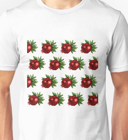 Watercolor Pomegranate Pattern Unisex T-Shirt