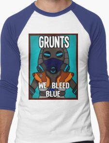 Grunts: We Bleed Blue Men's Baseball ¾ T-Shirt