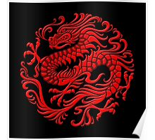 Traditional Red Chinese Dragon Circle Poster