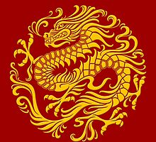 Traditional Yellow Chinese Dragon Circle by Jeff Bartels