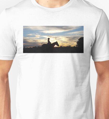 A girl, a horse, and an Oklahoma sunset. Unisex T-Shirt