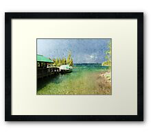 Landscape picture of lake, boats, blue sky and trees at Grand Teton National Park. Digital oil painting style. Framed Print