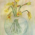 Daffodil Buds In A Cut Glass Bowl by lezvee