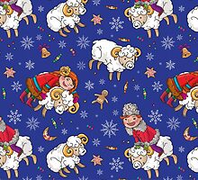 Folk Ukrainian Christmas Pattern. Sheeps and children. by Kimazo