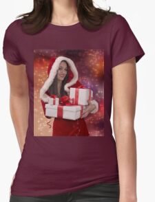 Christmas girl with gift Womens Fitted T-Shirt