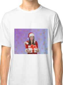 Christmas girl with gift Classic T-Shirt