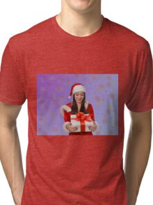 Christmas girl with gift Tri-blend T-Shirt