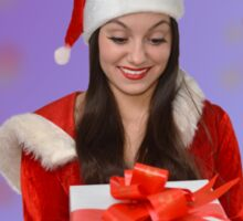 Christmas girl with gift Sticker