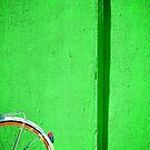 Bicycle wheel and green wall by Silvia Ganora