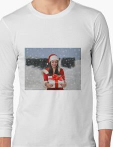 Christmas girl with gift Long Sleeve T-Shirt